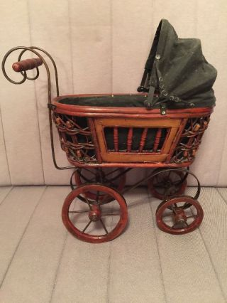 Vintage Baby Doll Pram Carriage Stroller Wicker And Canvas Wood Wheels photo