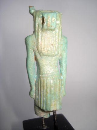 Ancient Egyptian Ushabti Shabti Turquoise Faience Neferthum God Figure 400 Bc photo