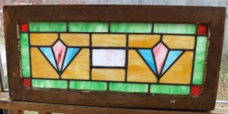 Antique Vintage Stained Leaded Glass Window Transom Slag Salvage Art Deco Balt photo