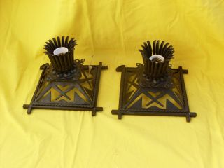 Vtg Italian Iron Wall Sconces,  Ceiling Lights,  1 Bulbs,  1960s photo