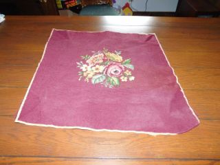 Old Antique Tapestry Seat Cover Chair Needlepoint Craft Hand Sewn Replacement photo