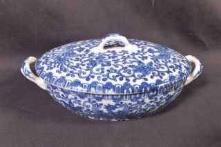 Old Japanese Blue And White Phoenix Bird China Small Covered Dish photo