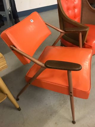 Mid Century Modern Orange Arm Chair Adjustable photo