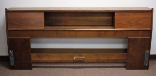 Kipp Stewart; Drexel Walnut Bed Headboard,  Mid Century Modern - King Size photo