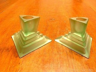 Pair Vintage Art Deco Green Satin Glass Candlesticks photo