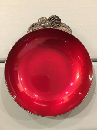 Vintage Reed & Barton Pine Cones Red Enameled Silver Bowl Candy Nut Change Dish photo