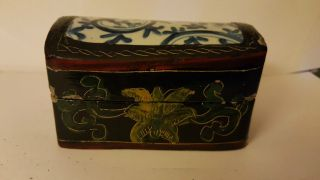 Chinese Porcelain Shard: Wooden Lacquered Box 11 Cm Long photo