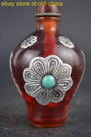 China Collectible Decor Old Amber Resin Inlay Flower Snuff Bottle photo