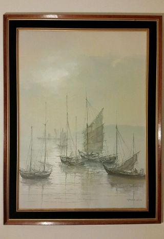 Young Woo.  Chinese Fishing Port Scene Very Large Oil On Canvas Painting photo