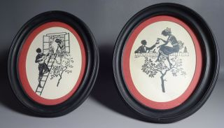 Pair Framed Antique Silhouttes Of Courting Couples By Frederich Kaskeline photo