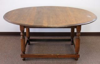 Antique Chestnut Oval Tavern Table Circa 1880 photo