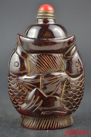 Collectible China Handwork Old Horn Carving Double Fish Theme Snuff Bottle Noble photo