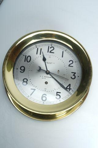 (e) Fine 1950 ' S Chelsea Brass Ship Naval Clock U.  S.  Government - photo