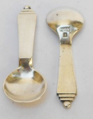 Vintage Art Deco Denmark Sterling Silver 2 Little Salt Spoon George Jensen photo