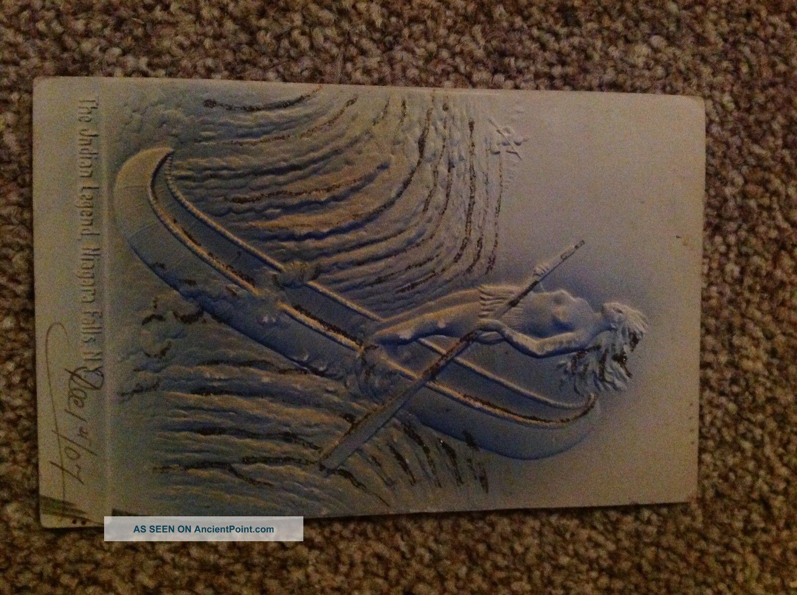 Antique Native American Postcard,  The Indian Legend,  Niagara Falls,  1907. Native American photo