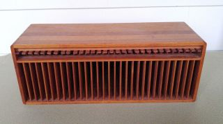 Kalmar Designs Mid Century Modern Teak Wood 30 Cd Holder Release Levers photo