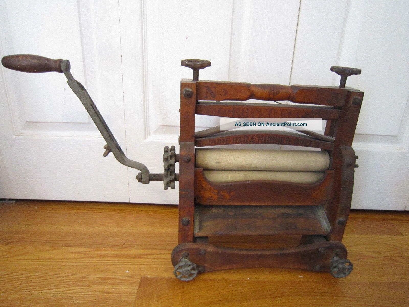 Antique Wood & Iron Improved Eclipse Washer Wringer,  Steampunk,  Advertising 1888 Clothing Wringers photo
