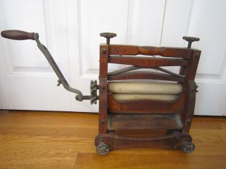 Antique Wood & Iron Improved Eclipse Washer Wringer,  Steampunk,  Advertising 1888 photo