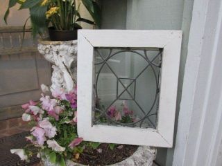 Fabulous Old Vintage Architectural Small Leaded Glass Window In Chippy White Fra photo