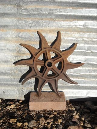 Antique Rotary Hoe Cultivator Wheel Rustic Metal Farm Garden Wall Art Steampunk photo