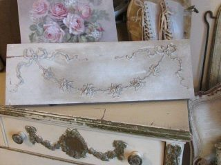 Omg Old Chippy Architectural Header Barbola Gesso Swags Of Roses Flowers Garland photo