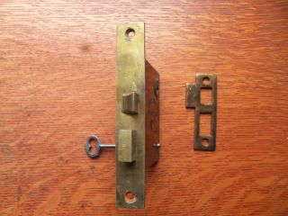 Antique Brass Door Mortise Lock With Key & Striker C1900 By Sargent photo