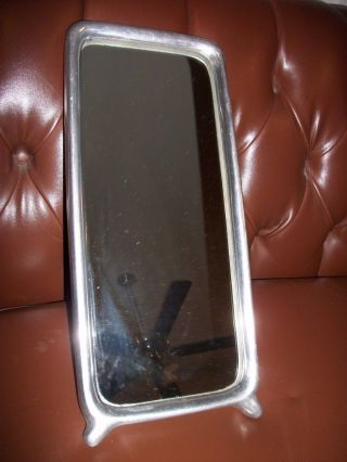 Antique Vintage Art Deco Vanity Shaving Mirror Aluminum Wall Hanging photo