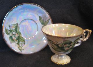 Enesco Tea Cup & Saucer May Lily Of The Valley Opalescent Floral,  Gold Trim photo