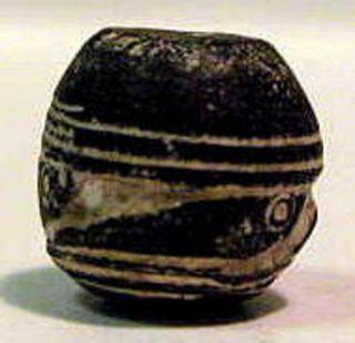 Pre - Columbian Black Fish Bead.  Guaranteed Authentic. photo