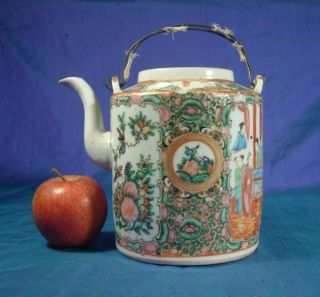 Antique Chinese Cantonese Porcelain Teapot photo