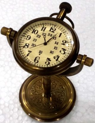 Nautical Maritine Antique Table/desk Clock With Brass Pocket Watch photo