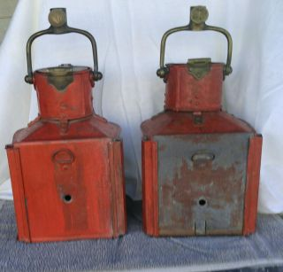 Wwii Era Masthead Ship Lanterns Patt 25a Birmingham England photo