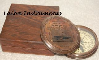 Titanic Compass W/leather Case Brass Compass Engraved Compass Compass photo