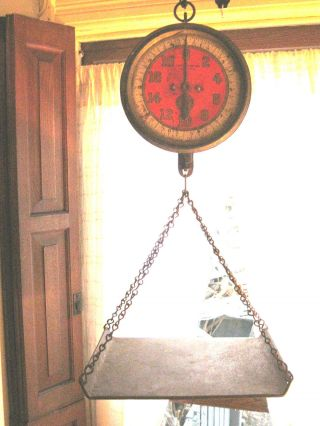 Vintage Rare All Antique Red John Chatillon Hanging Store Scale 1914 photo