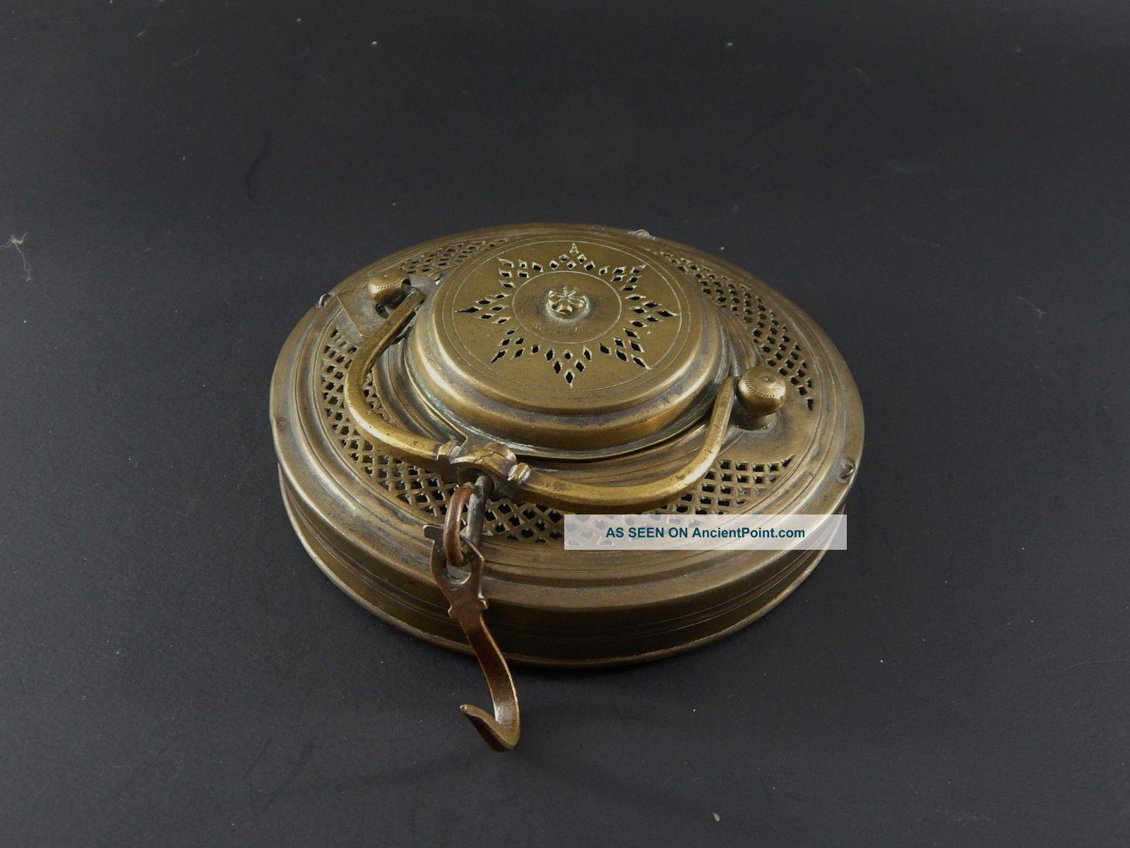 Fine Antique Persian Pierced & Engraved Brass Hanging Kadjar Candle Lamp Signed Islamic photo
