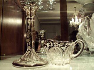 Art Nouveau Silver Overlay American Brilliant Period Candlestick & Creamer photo