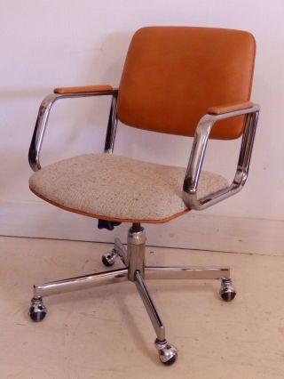 Mid Century Modern Stylex Swivel Casters Chrome Office Desk Chair Baughman Era photo