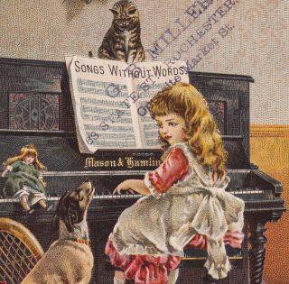 Mason & Hamlin Piano Organ Music Cat Dog Doll Victorian Advertising Trade Card photo