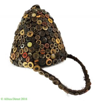 Lega Hat With Buttons On Basketry Bwami Society Congo Africa Art Was $199 photo
