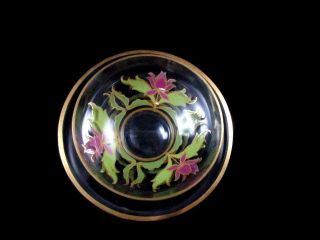 Antique Clear Hand Painted Enamel Floral Glass Finger Bowl W/ Underplate photo