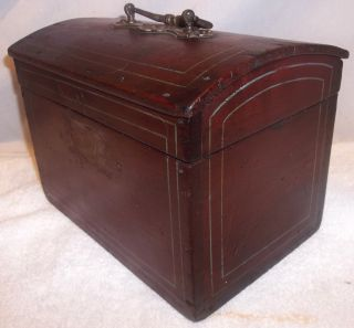 Early Pennsylvania Dome Top Paint Decorated Document Valuables Box photo