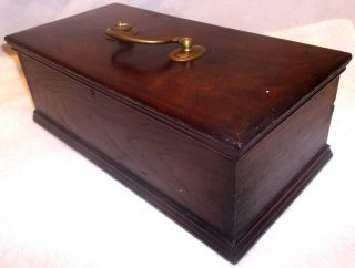 Antique Pennsylvania Dovetailed Walnut Document Valuable Storage Box W/key photo
