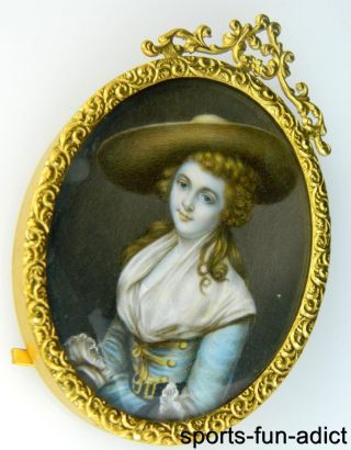 Antique 19th Century Hand Painted Gilt Metal Frame Portrait Of Woman photo