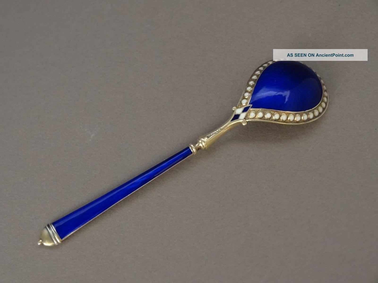 Antique David Andersen Norway Sterling Silver Cobalt Blue Enamel Spoon 1900 - 20 Scandinavia photo