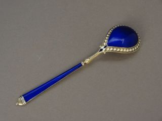 Antique David Andersen Norway Sterling Silver Cobalt Blue Enamel Spoon 1900 - 20 photo
