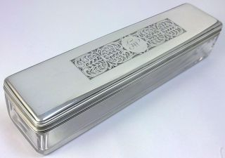 Georgian Hallmarked Sterling Silver - Lidded Crystal Glass Vanity/trinket Box–1827 photo