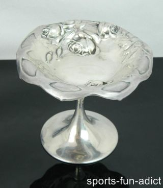 International Repousse Sterling Silver Compote Floral Nut Candy Dish 4 5/8