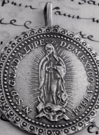 Antique 19th Century Guadalupe Mexico Shrine Pilgrimage Silver Rosary Medal 1.  5
