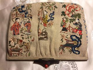 Lady ' S Purse Made From Antique 19th C Qi ' Ing Chinese Embroidered Silk Embroidery photo