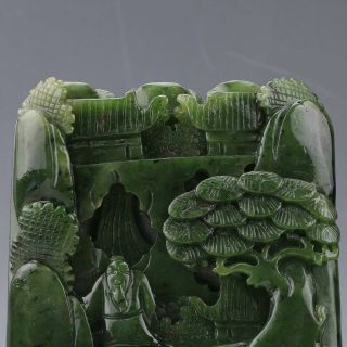 100 Natural Hetian Jade Hand - Carved Pine Tree & Old Man Statue Xz180 photo